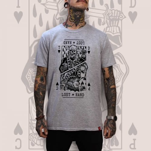 Suicide King of Hearts Front Print Grey T-Shirt Men