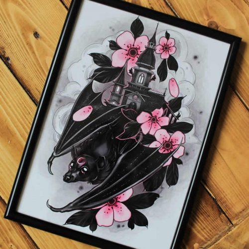 Neotraditional Bat Tattoo Print A4