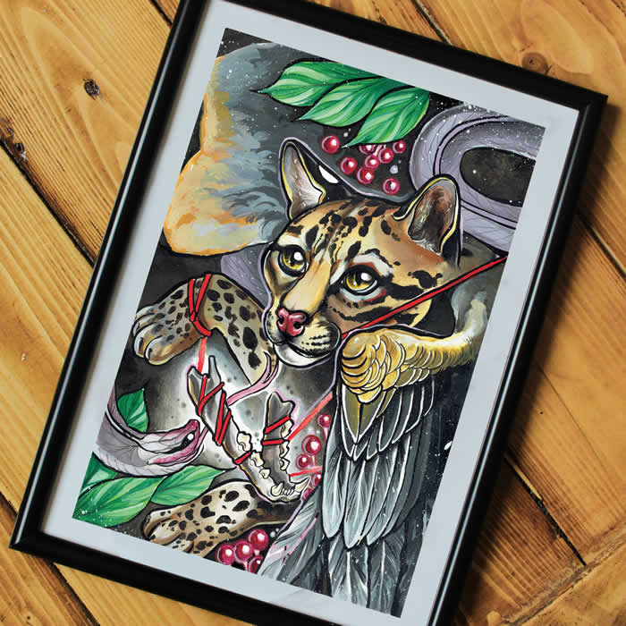 Neotraditional Chimera Tattoo Print A4