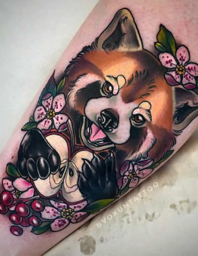 Vokun Tattoo Neotraditional Red Panda