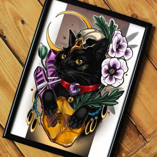 Black Cat Neotraditional Tattoo Print A4