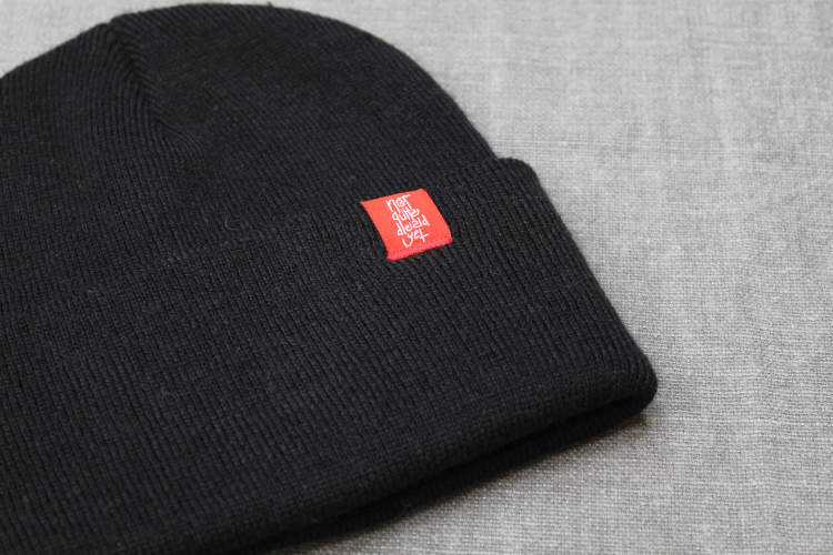 The Usual Black Beanie Label Detail - TDP Clothing