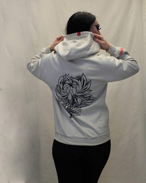 Dark Chrysanthemum Sand Hoodie Back Print Woman